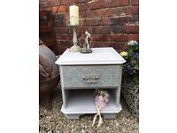 Shabby Chic Cabinet/Bedside Painted in Annie Sloan Paris Grey with Floral Decoupage