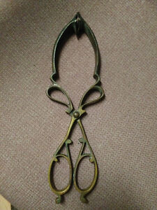 ANTIQUE VICTORIAN BRASS COAL TONGS