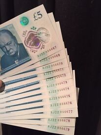 New £5 notes consecutive serial numbers