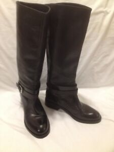 "Ladies New ""Max Great"" Black Leather Tall Riding Boots 7M"