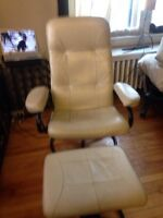 White leather recliner with foot bench