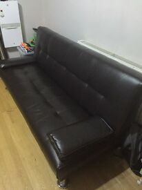 Sofa bed faux leather brown color (like new)