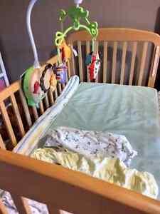 Solid maple crib set