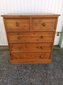 Solid thick pine chest of drawers, local delivery possible