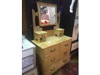 Scrubbed pine dressing table