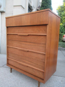 MCM Walnut Tall Boy Dresser by Vic-Art Furniture Co.