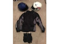 Motorbike jacket, 2x helmets and pair of gloves. £200 ono.