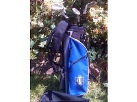 Kids Junior Golf Clubs Set & Carry Bag, rain hood cover and padded Shoulder Straps/Harness