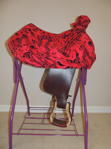 Custom Red and Black Music Note Print Western Saddle Cover