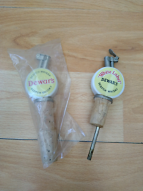 Two Vintage Collectable Dewar's Scotch Whisky Bottle Stoppers/Pourers