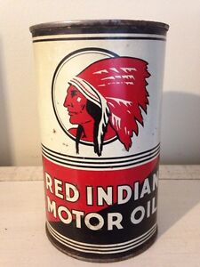 Nice condition Red Indian motor oil tin can, open bottom