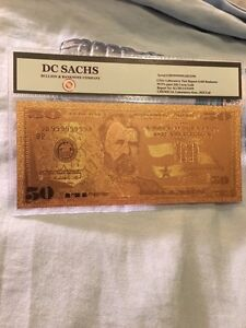 Us fifty dollars banknote $50 gold plated note