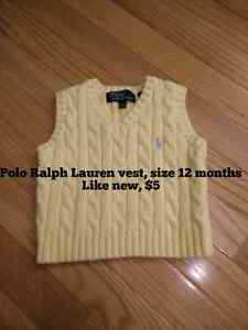 Polo Ralph Lauren Wool Vest - size 12 months - like new