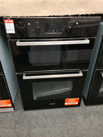 Brand New Indesit Aria IDD6340BL Built-in Double Electric Oven - Black