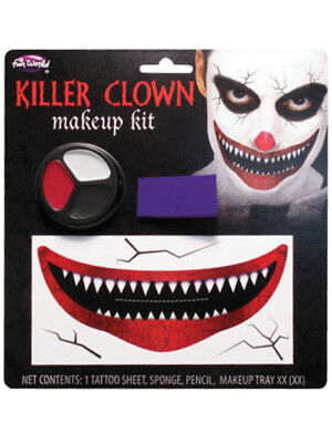 Killer Clown Mens Ladies Horror Halloween Make Up Kit Scary Clown Fx Makeup New