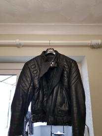 Leather mens motorbike jacket