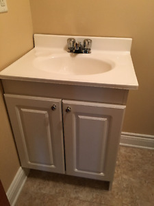 White Bathroom Vanity with Faucet