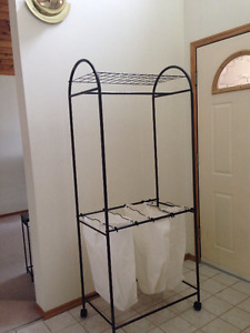 Rolling clothes rack and laundry storage