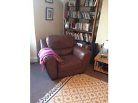 Leather Style Brown Armchair Reading Chair