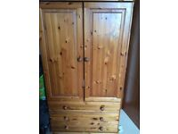 GENTS OR CHILD'S SMALL SOLID PINE WARDROBE WITH 3 BOTTOM DRAWERS.