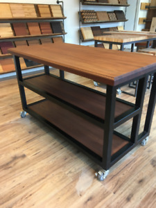 Industrial kitchen cart on casters with two shelves