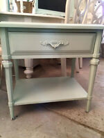 """Located at C'est La Vie"" Calming teal night stand"