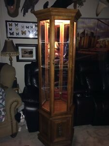 Curio cabinet with 3 sides and light.