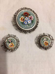 VINTAGE ~ PIN & EARRING (CLIP ON) SET. MADE IN ITALY