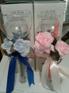 2   CANDLE   VASES