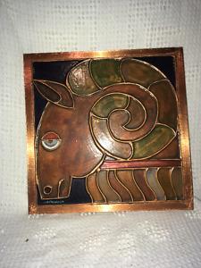 Aries Ram Copper Ornamental Frame / Cadre bélier en cuivre