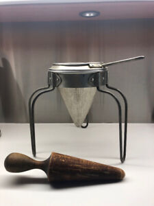 Vintage Cone Strainer, Stand and Pestle