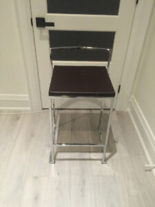 Dark Brown Faux Leather Bar Stool with Metal Base