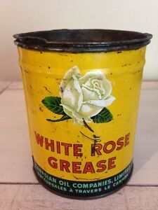 Antique 1930's White Rose Enarco grease can oil gas pump sign