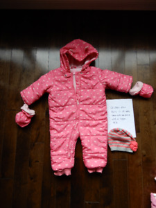 Baby girl's 12-18 months one piece snow suit and a toque