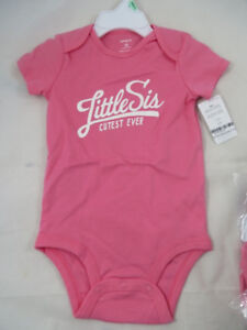 Carter's Baby Girls Bodysuit Little Sis Size 9 and 18 months
