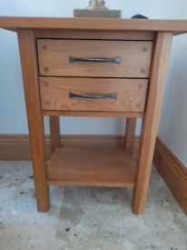 Solid Oak Display Cabinet and 2 matching Side Tables