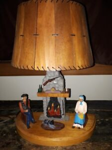 Quebec Carved and Painted Folk Art Lamp