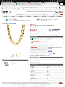 """Men's Solid Square Link Chain Necklace in 10K Gold - 22"""""""