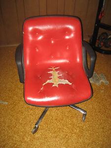 Vintage Chair Chaise à roulette cuir