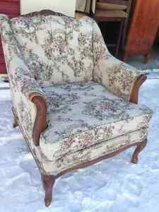 Vintage AntIque French Provoincial Tufted Accent Arm Chair
