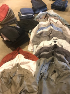 Mens lot of clothes size 34 and 36 waist, size L and XL shirts