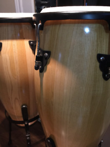 Percussion Conga Drum Set with Stands - ALL NATURAL WOOD