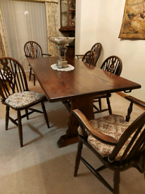 Large Vintage Solid Oak Table & 8 Chairs By Webber Of Croydon