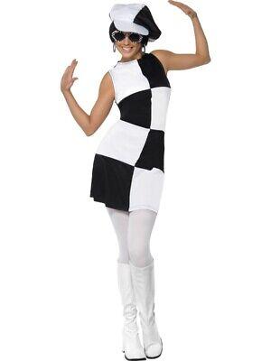 Hippiekleid schwarz weiss 60er Jahre Kleid und Hut - Kostüm Schwarze Und Weiße Kleid