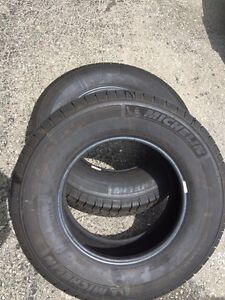 Two Michelin tires LT225 75 16R