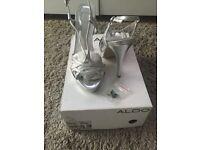 Silver Aldo Heels Size 5