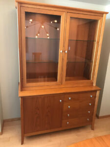 Solid teak china cabinet, expandable dining table and 8 chairs