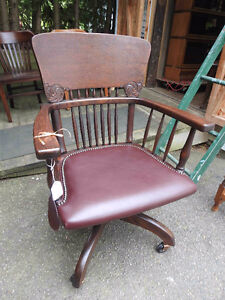 vintage antique office chair 1920's new burgundy leather seat