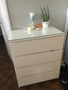 Lovely IKEA White Dresser & Clear Glass Top !!