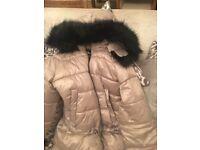 Ladies girls Zara bubble paddle coat in champagne colour medium/ large
